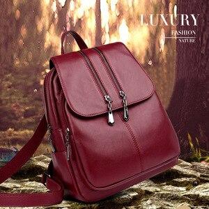 Image 2 - 2019 Kadın Deri Sırt Çantaları Yüksek Kaliteli seyahat omuz çantası Kadın Sırt çantası Vintage Sırt Çantası Bayanlar Kesesi Dps Kadın Sırt Çantası