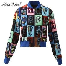 MoaaYina High Quality Fashion Designer Jacket jacket Autumn Women Long sleeve Plaid Print letter Beading Short