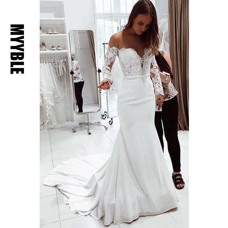 MYYBLE 2020 Elegant Mermaid Off the Shoulder Long Sleeves White Lace Wedding Dresses with Appliques Wedding Gown