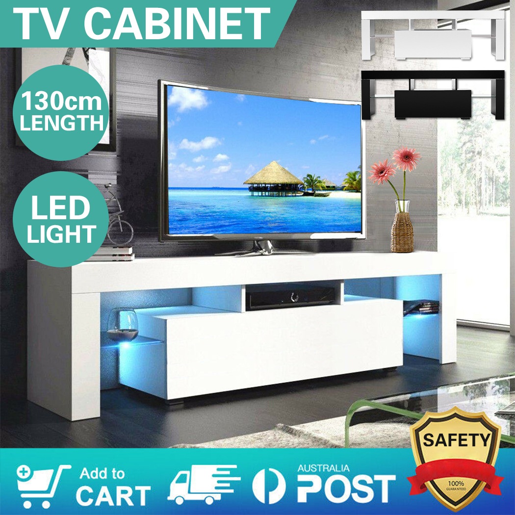 130cm Stylish Living Room Bedroom TV Cabinet Drawer With LED Easy Install  Modern Storage Cabinet  For Living Room Bear  Weight