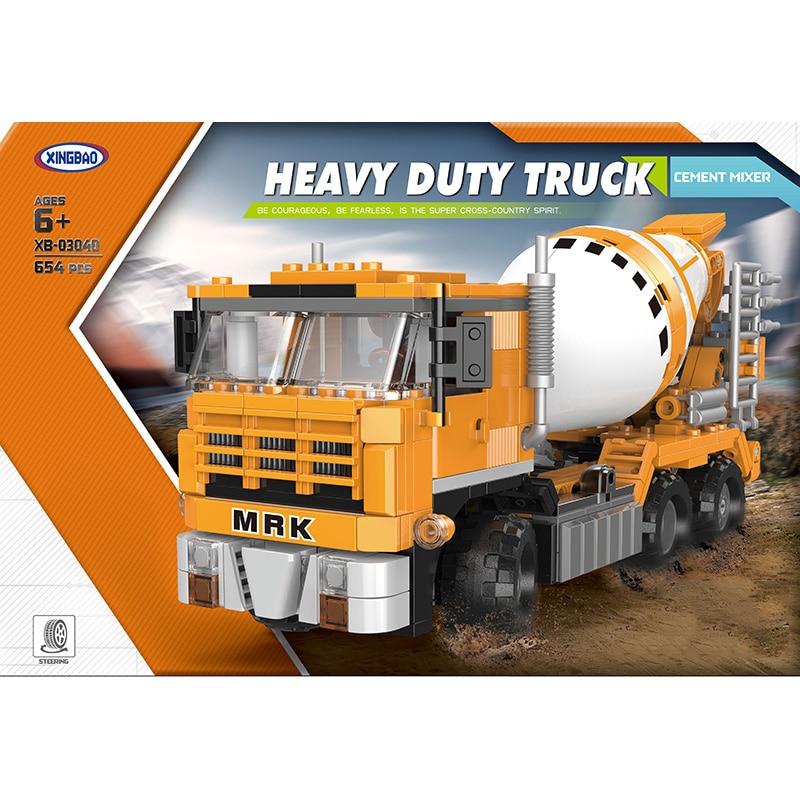 Xingbao 03040 Building Bricks Engineering Series Cement Mixer Truck Toys 654PCS