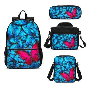 4Pcs/Set Portfolio School Bag For Boys Girls Cool Butterfly 3D Printing Backpacks Casual Daypacks Bookbag Rugzak Mochila Escolar