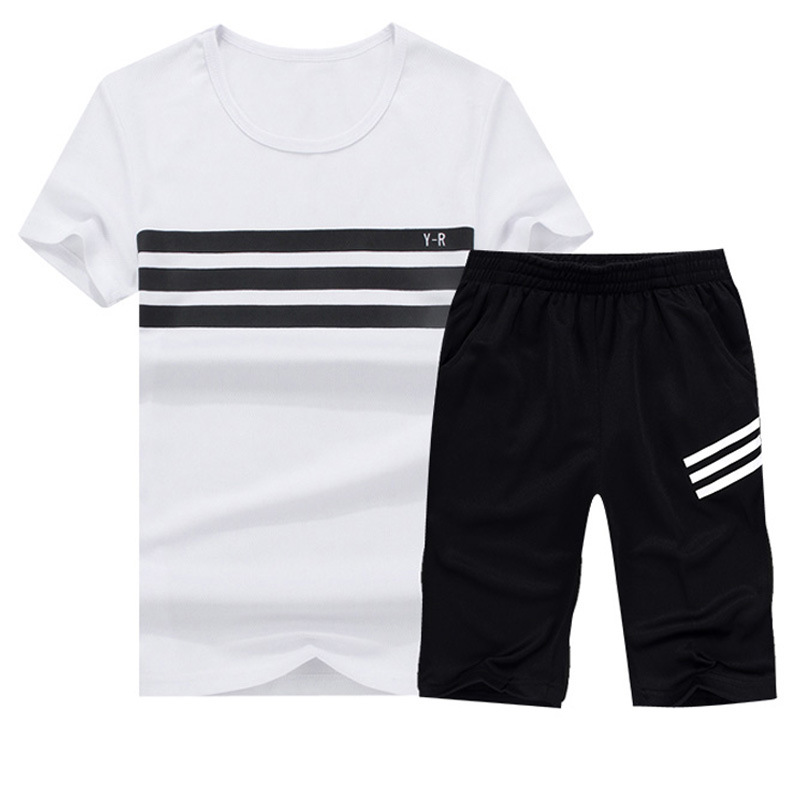 For Summer Men Korean-style Slim Fit Short Sleeve T-shirt Suit Crew Neck Shorts Casual Sports Two-Piece Set