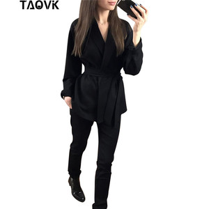 Image 4 - TAOVK Office Lady Pant Suits Womens Costume Belt Blazer top and pencil pants two piece outfits femme ensemble Pantsuit Spring