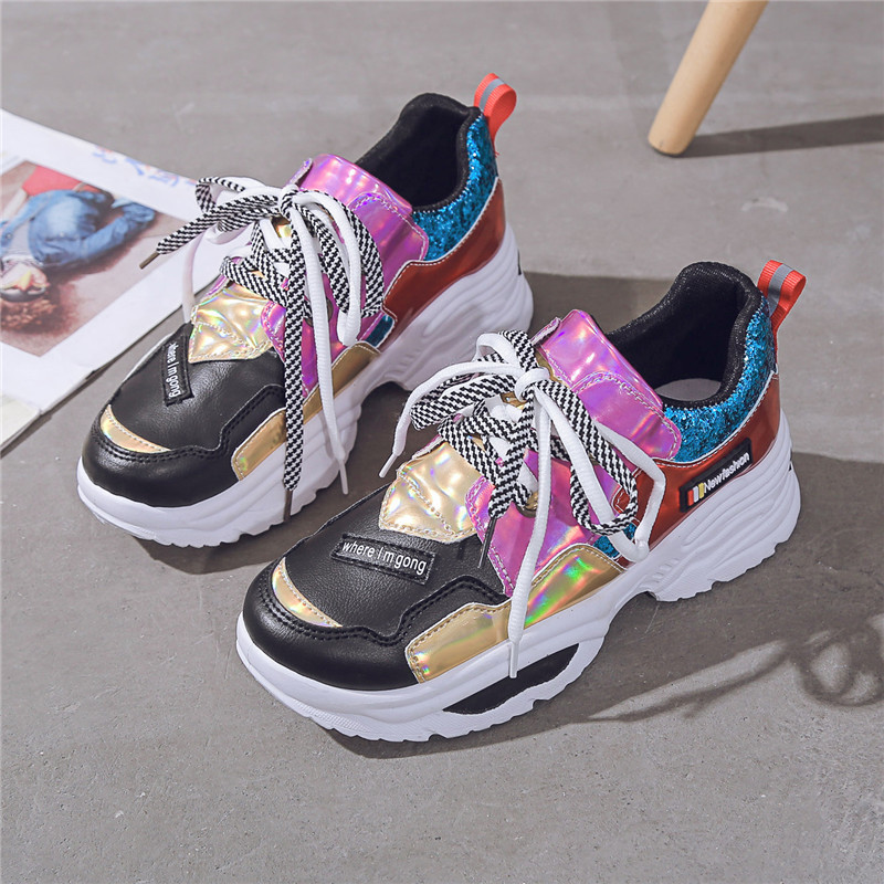 Summer Women Shoes Sneakers Thick-soled Shoes Basket Femme Casual Sport Designer Shoes Woman High-end Dames Schoenen Lace-up 42