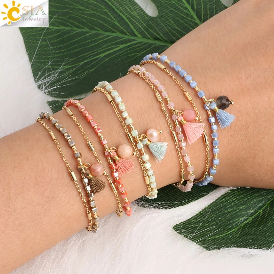 CSJA Bohemian Armband Delica Miyuki Bracelet Beads Bracelets Gold Color Femme Tassel Fringed Chic Two Layers Mini Pulseras S413