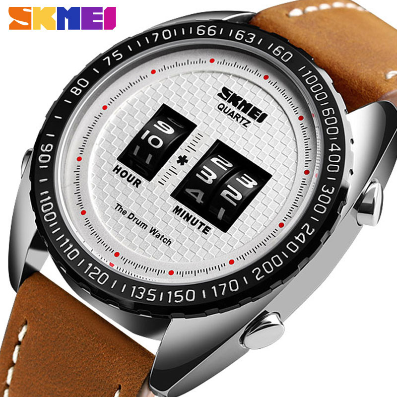 <font><b>SKMEI</b></font> Fashion Quartz Watches Men Creative Business Men Watch Leather Strap Waterproof Quartz Wristwatches relogio masculino <font><b>1516</b></font> image