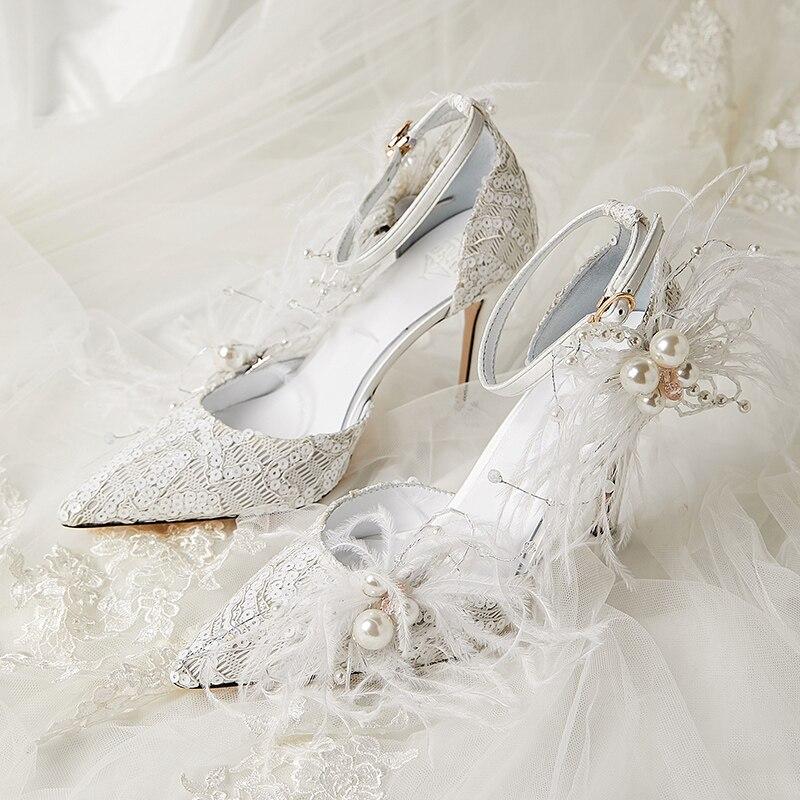 Свадебные туфли; Сандалии; Роскошная обувь с Украшенные перьями; Праздничная обувь для ТВ шоу; Дизайнерская обувь с бисером, кружевом и жемч