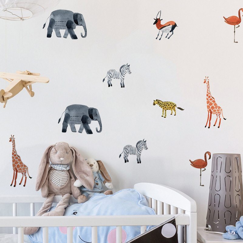 DIY Animal Wall sticker for kids rooms Baby room Decorative wall vinyl Decalsre movable waterproof Modern home decoration