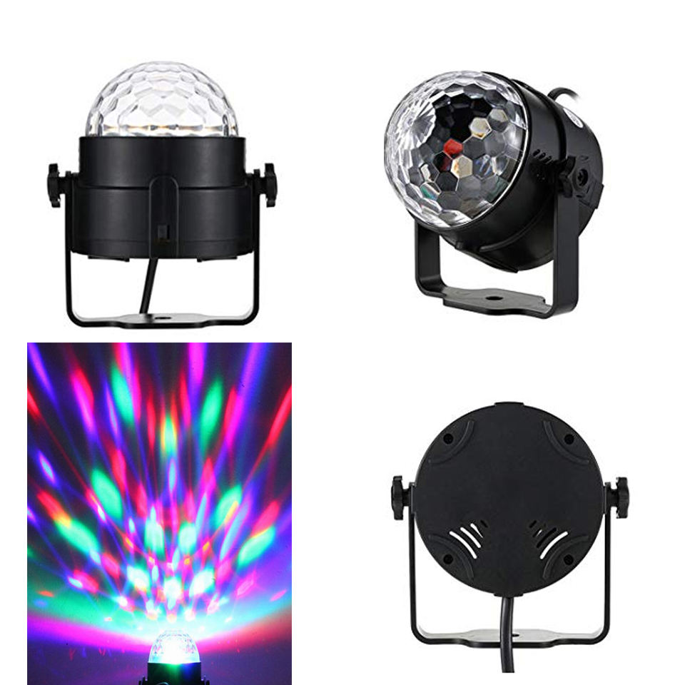 Image 2 - Sound Activated Rotating Disco Ball DJ Party Lights 3W 3LED RGB LED Stage Lights For Christmas Wedding sound party lights-in Stage Lighting Effect from Lights & Lighting on