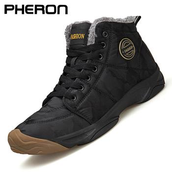 2020 męskie buty męskie buty zimowe moda śniegowe buty buty Plus zimowe trampki kostki męskie buty zimowe buty czarne niebieskie obuwie tanie i dobre opinie PHERON BUTY NA ŚNIEG CN (pochodzenie) Cotton Fabric ANKLE KAMUFLAŻ Pluszowe Plush okrągły nosek RUBBER Zima Niska (1 cm-3 cm)
