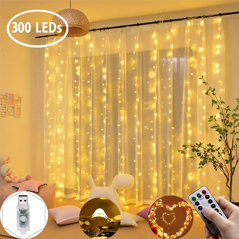 New Year's LED Garland Christmas Light On Window Decoration String Fairy Curtain Garlands Strip Wedding Valentine's Party Lights