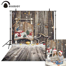 Allenjoy christmas photo background wooden wall snow winter snowflake decoration photophone photocall backdrop for photography