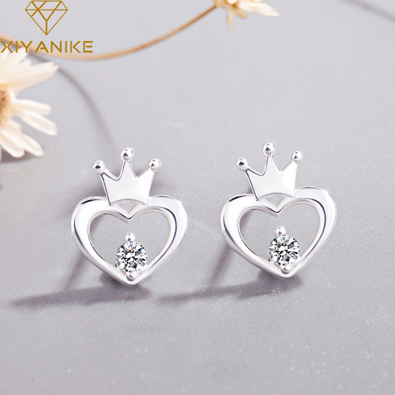 XIYANIKE 925 Sterling Silver Fashion Creative Crown Hollow Heart-Shaped Stud Earrings For Women Prevent Allergy Jewelry Gift