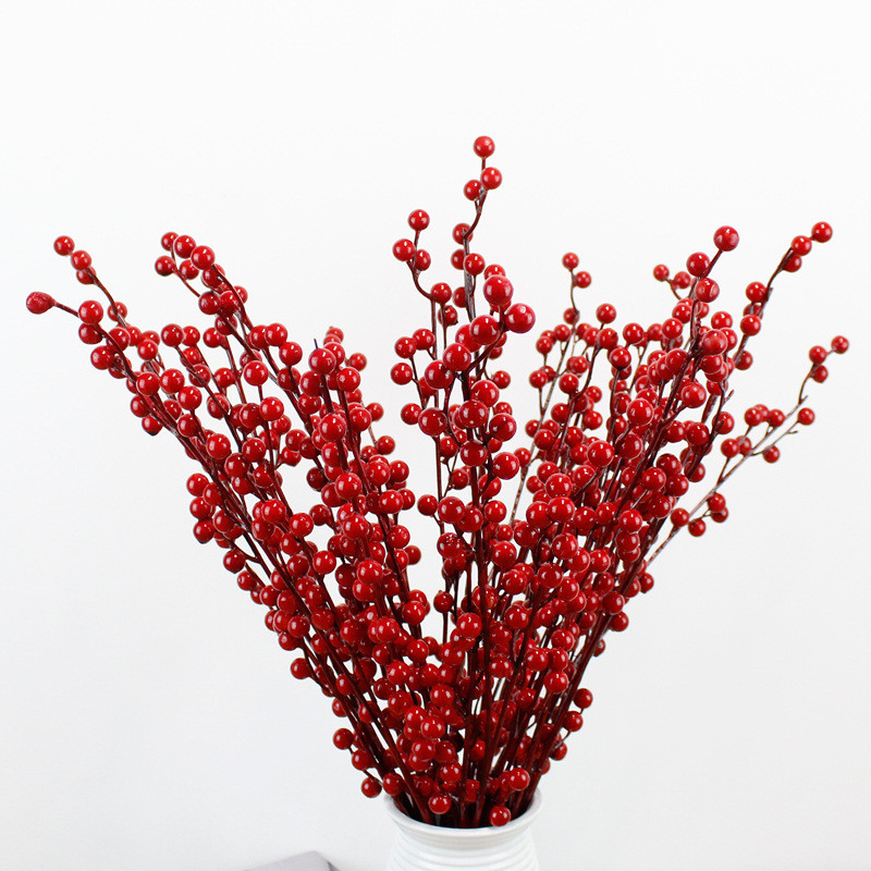 Dried Flower Bouquet Table-Decoration Bean-Branch Foam Bunch Red-Berry Wedding-Party title=