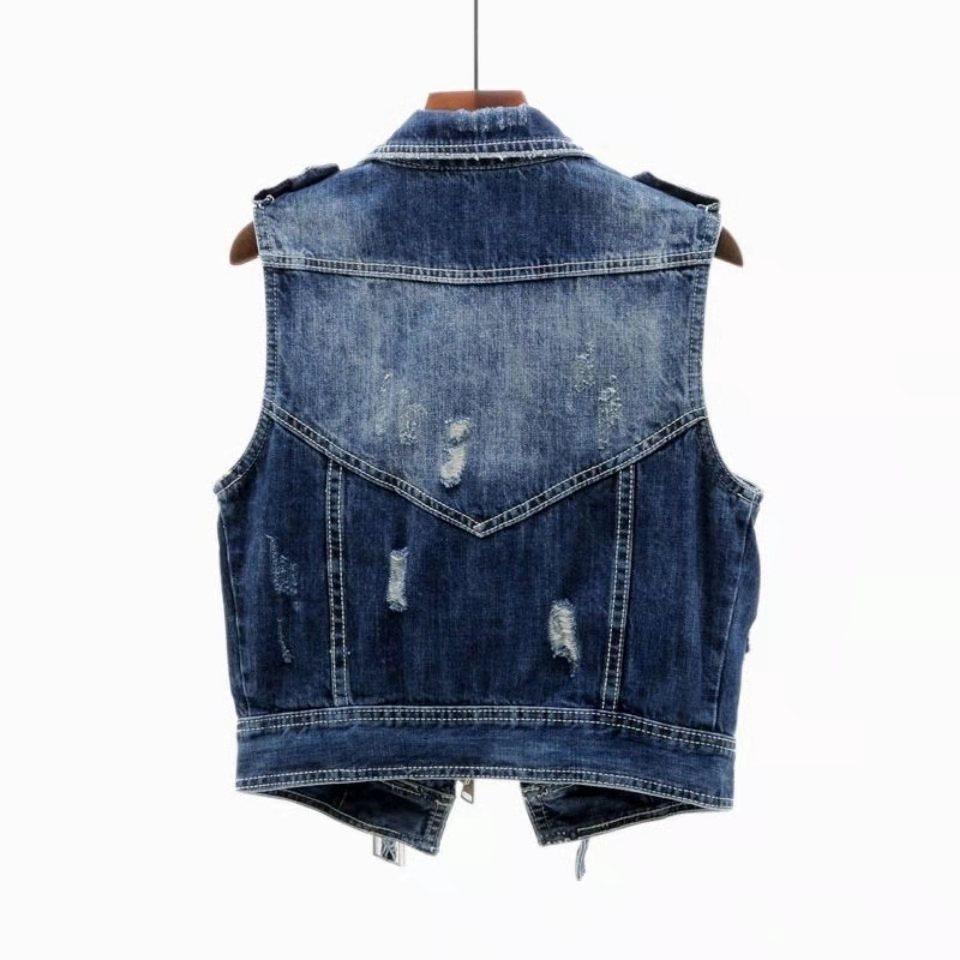 Ha114dcd7cf814fac99e9ace2d75b17f5a Fashion Denim Vest Female Spring Autumn Sleeveless Wild Tops Short Jacket Women Plus Size 5XL Smoky Gray Jean Waistcoat