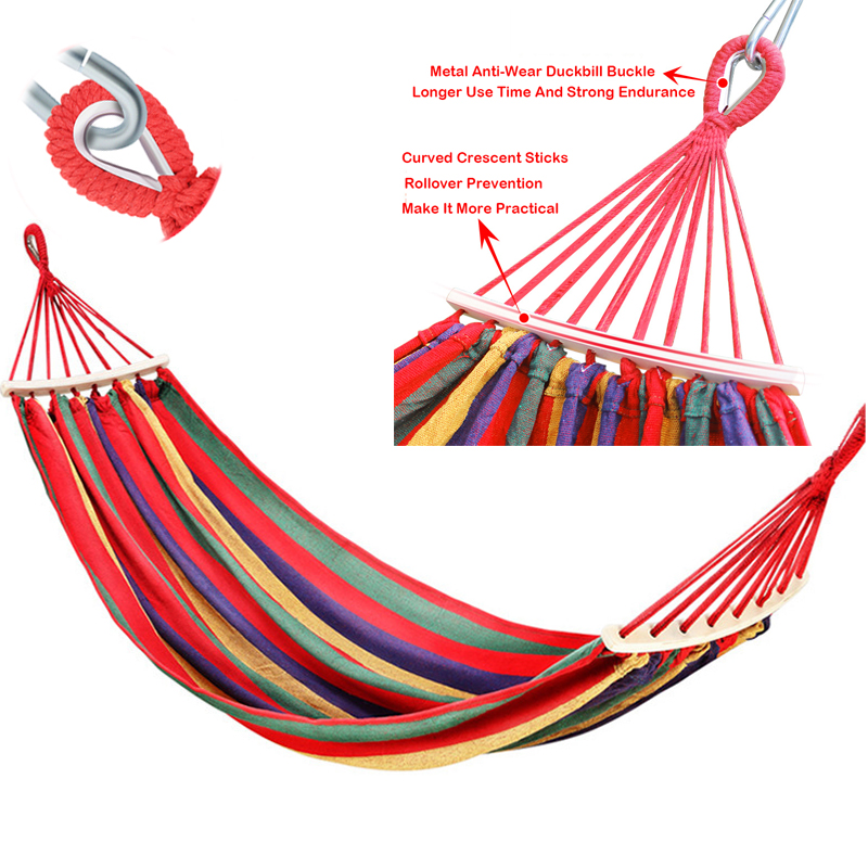 Portable Hammock Outdoor Garden Hammock Home Garden Hanging Chair Travel Camping Swing Stripe Single Double Person Thicken