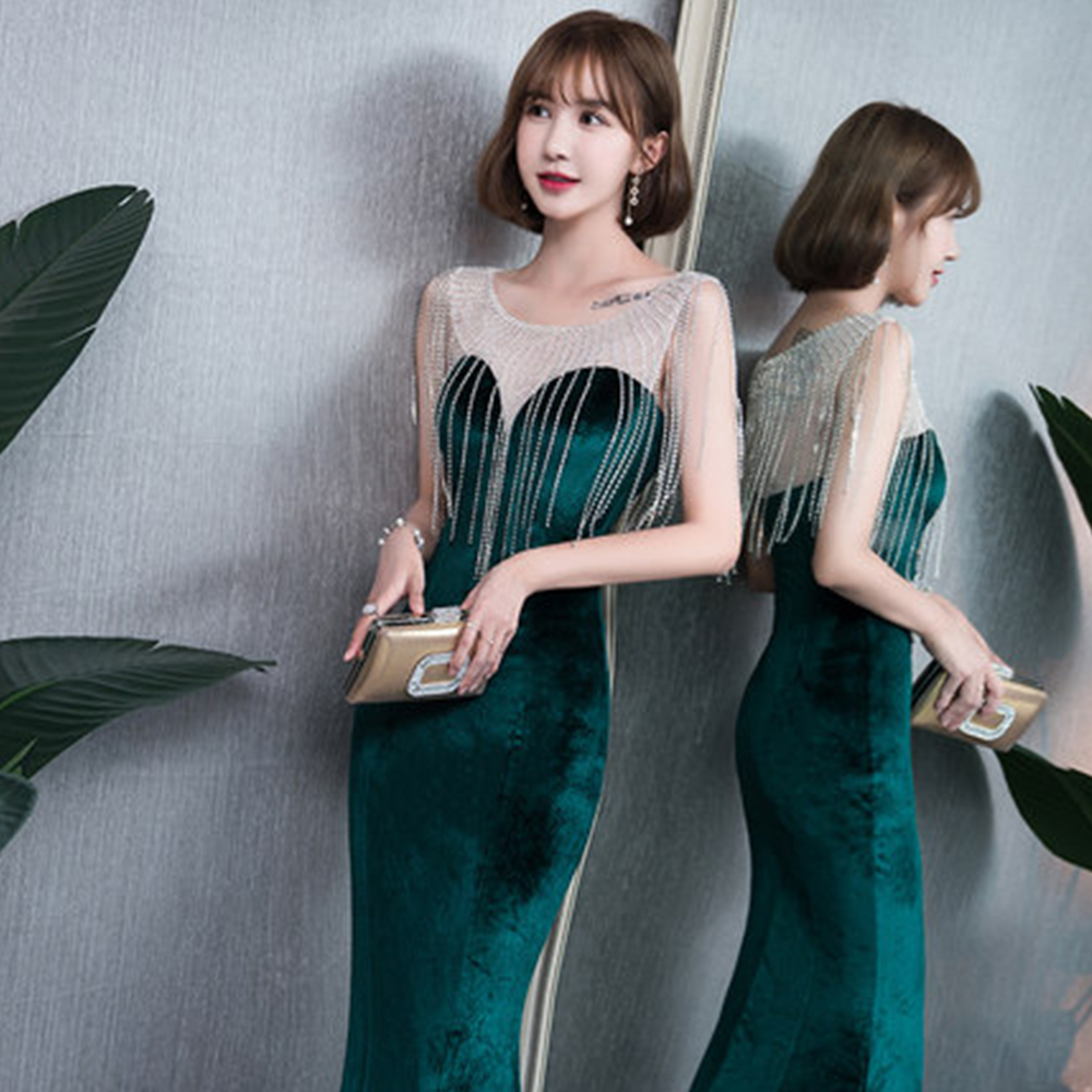 Evening Dress Solid Sleeveless Elegant Women Party Dresses 2019 O neck Crystal Robe De Soiree Tassel Formal Evening Gowns F085 in Evening Dresses from Weddings Events