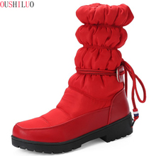 Big size 34-43 New warm snow boots women Slip-On platform boots solid color waterproof mid calf thick fur winter boots цена 2017
