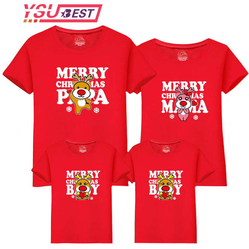 New Christmas Mom Daughter Clothes Father Son Matching Clothing Family Look Family Clothing Dad Mom Boy T-Shirt Cartoon Deer