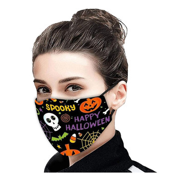 Fashion Cosplay Masks Activated Carbon Adjustable Mouth Halloween Print CottonFace Mask Protection Mask Pumpkin Party Mask Masqu image