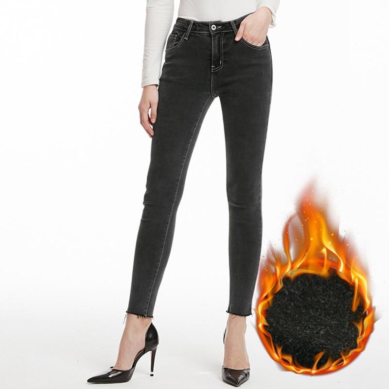 Okuohao Jeans2019 Winter New Fashion Jeans Women Plus Velvet Warm Elastic Nine Points Slim Slimming Feet Pants Thin Velvet