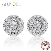 ALLNOEL 925 Sterling Silver Stud Earrings for Women 5A White Zirconium Diamond Earrings Platinum Engagement Wedding Fine Jewelry