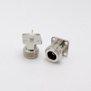 Image 2 - Bakır N tipi N dişi RF koaksiyel adaptör konnektörü 17.5x17.5mm N tipi Panel montaj şasi konnektörü 10 adet/grup
