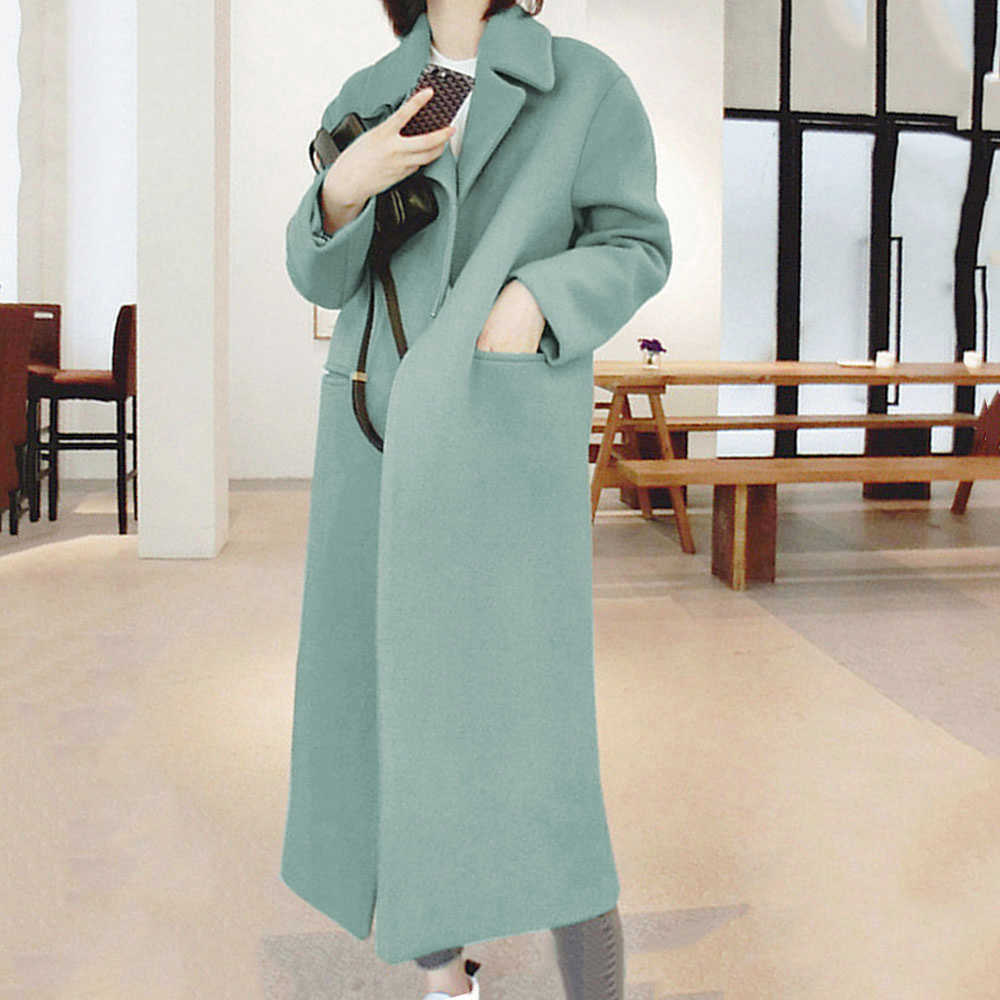 MoneRiff Long Coat Winter Coat Women Belted Solid Coat Women's Jacket CHUQING High Quality Korean Women's Black Coat Wool Coat