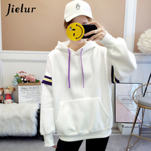 Jielur Korean Hoodie Women Hit Color Autumn Winter Sweatshirt Sudaderas Mujer Printed Chic Kpop Loose Hoodies Velvet S-XL women s chic hit color print stretchy leggings