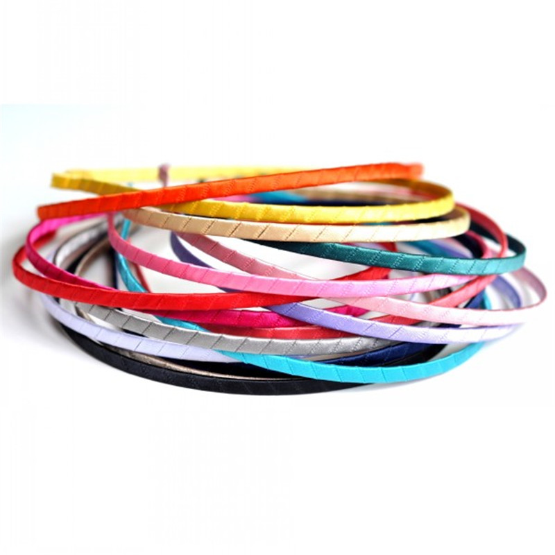 50pcs lot 5mm Girls Hair Bands For Women Head Hoop Colored Satin Covered Metal DIY Handmade Party Headbands Baby Hair Accessory in DIY Craft Supplies from Home Garden
