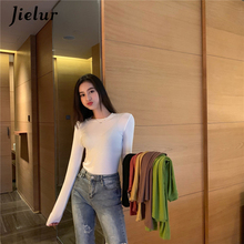 Jielur Pure Color Long Sleeve T Shirt Women O-neck Slim Basic T-shirt Hipster Black Autumn New Tee Tops 2019 6 Colors