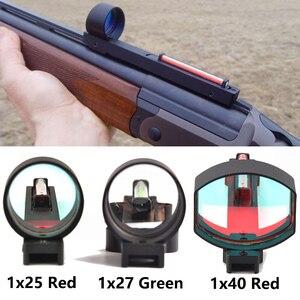 Image 1 - 1x2 5/1x2 7/1x40 الألياف الأحمر/الأخضر نقطة النطاق البصري المجسم البصر صالح بندقية الضلع السكك الحديدية التكتيكية الصيد اطلاق النار