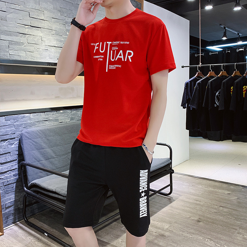 Summer Thin Section Leisure Sports Suit Men Clothes Korean-style Trend Short-sleeved Round Collar T-shirt Handsome Two-Piece Set