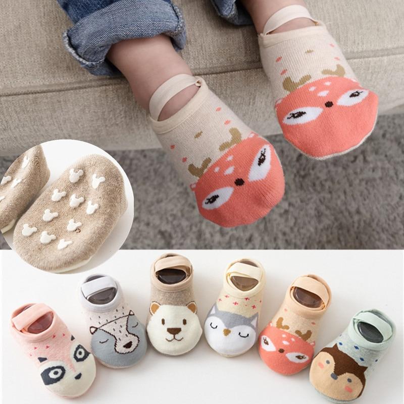 Cute Lovely Baby Boy Girls Socks Cartoon Infant Baby Non Slip Casual Socks For 0-3Y Boy Girls Cotton Socks
