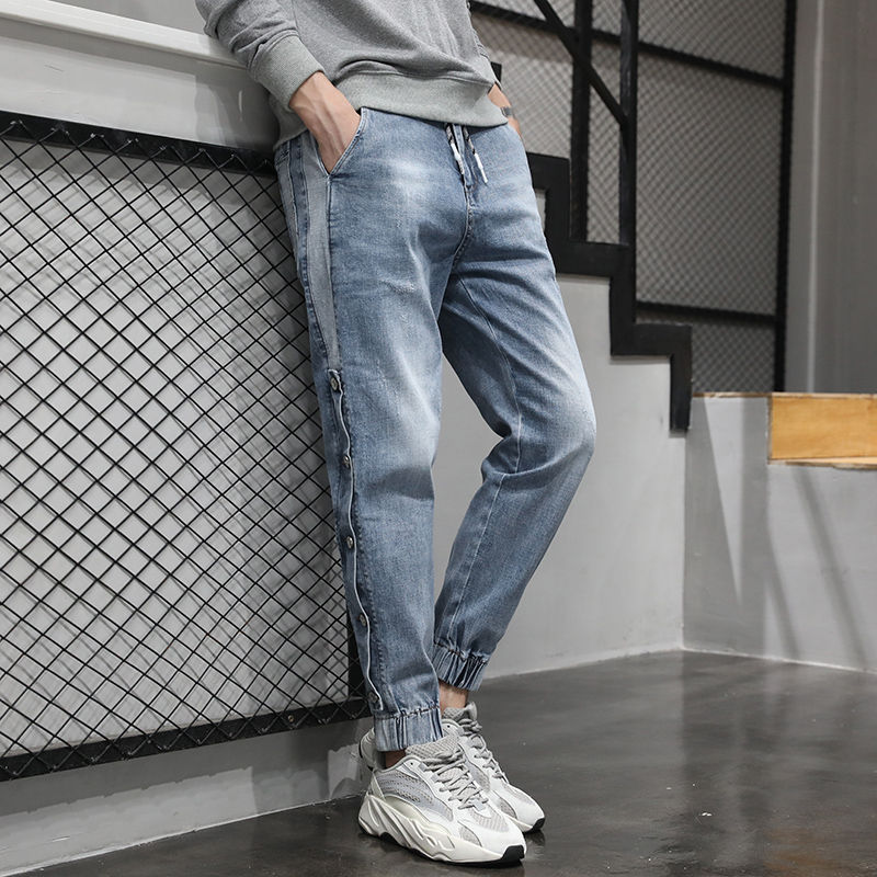 KSTUN Jeans Men Light Blue Elastic Waist Trendy Side Buttons Streetwear Drawstring High Quality Brand Jeans Male Joggers Pants 14