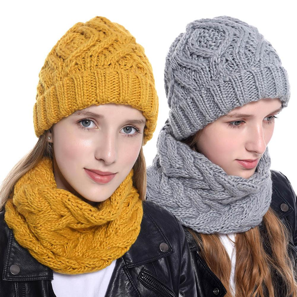 Winter Wool Twist Knitted Hat Scarf Set Thick Warm Knitted Hats Collar For Women Soft Wool Beanie Hat Female Neck Warmer Bonnet