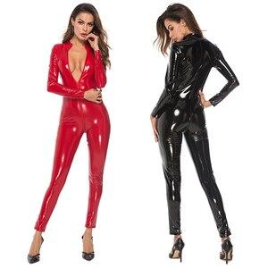Image 1 - Sexy lateks wygląd Catsuit Faux Leather Cat kobiety kombinezony body z długim rękawem Zip otwórz Crotch Romper kostium Plus rozmiar