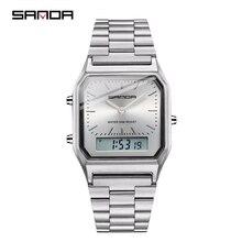 SANDA Gold Men's Watches Top Brand Luxury LED Digital Watch Men 5ATM Waterproof Rose Golden Clock Black Relogio Masculino 747