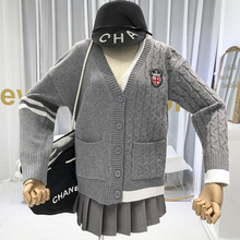 Gray Knitted Sweater Cardigan V-Neck Appliques Solid Single Breasted Asymmetry Women Winter Top 2019 Korean Top with long sleeve v neckline single breasted striped babydoll top