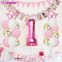 Globos de látex con número de globo de confeti de papel de plata rosa, 1er adornos para fiesta de cumpleaños, primer bebé, niña, niño, mi 1 año