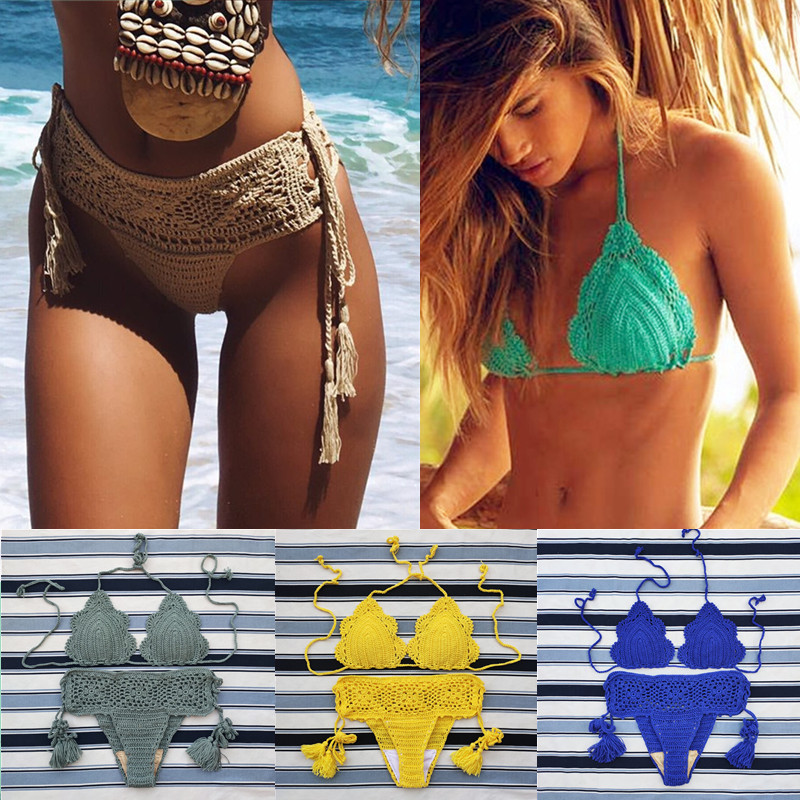 11 Color Handmade Crochet Bikini Set Retro Hollow Sexy Women Swimwear Beach Swimsuit Suit