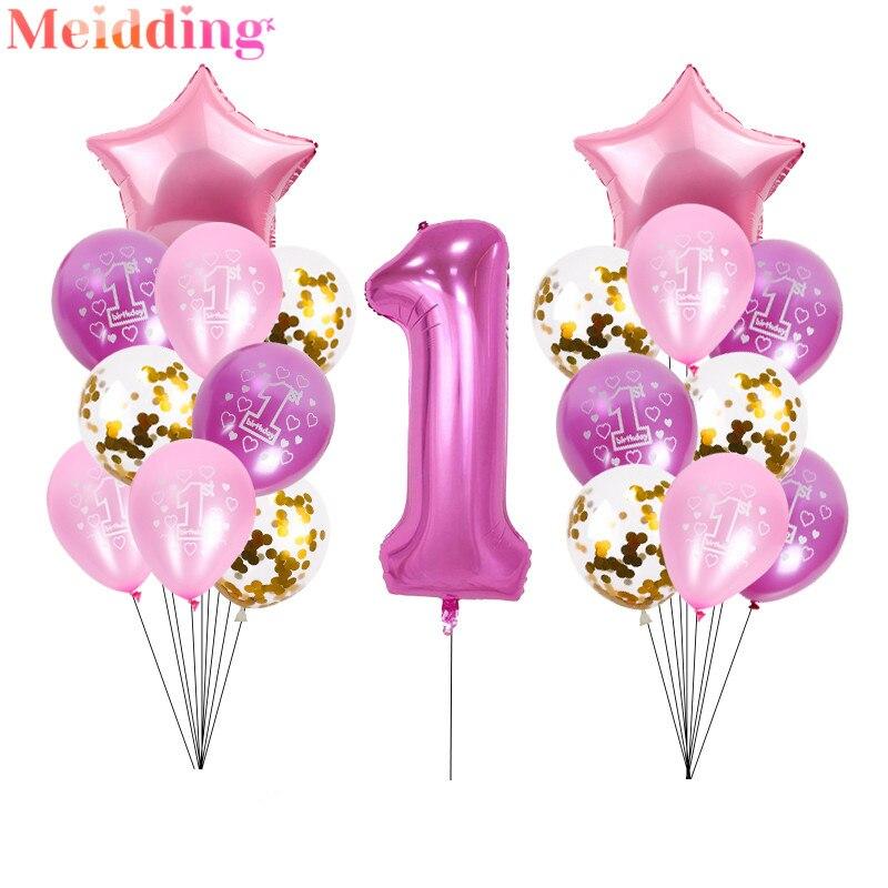 40 дюймовые фольгированные шары с цифрой 1, воздушный шар для первого дня рождения, украшение для вечеринки, воздушные шарики для девочек и мальчиков, гелиевые глобусы, 1 год, принадлежности Воздушные шары и аксессуары      АлиЭкспресс