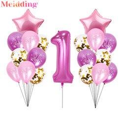 40-дюймовые фольгированные шары с цифрами 1, воздушные шары на 1-й день рождения, украшение для вечеринки в честь рождения ребенка, шары для ма...