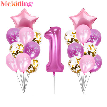 40inch Number 1 Foil Balloons 1st Birthday Balloon Party Decoration Baby Shower Boy Girl Balls Helium Globos 1 One Year Supplies foil number balloons birthday party decorations holiday diy decoration kids baby shower wedding decoration balls 40inch