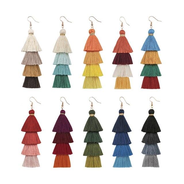 Богемные длинные градиентные Многослойные серьги-подвески с кисточками, модные женские украшения ручной работы, этнические шелковые кисто...