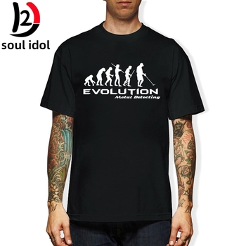 D2 nowa marka modowa odzież wykrywacz metali ewolucja T Shirt zabawna koszulka koszula Darwin teoria Hobby koszulki Retro tanie i dobre opinie SHORT Z okrągłym kołnierzykiem tops Z KRÓTKIM RĘKAWEM Czesankowe COTTON Na co dzień Drukuj