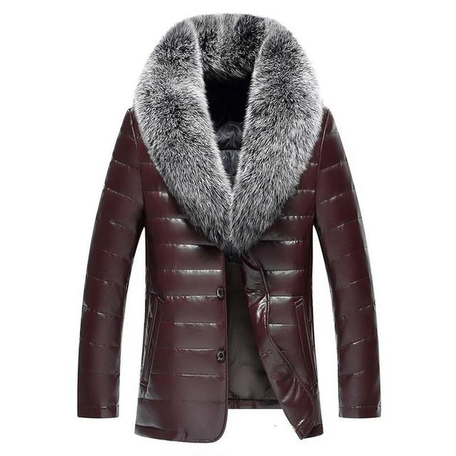 Winter New Big Real Fur Collar Veste Homme Cuir White Duck Down-padded Jaket Kulit Pria 4