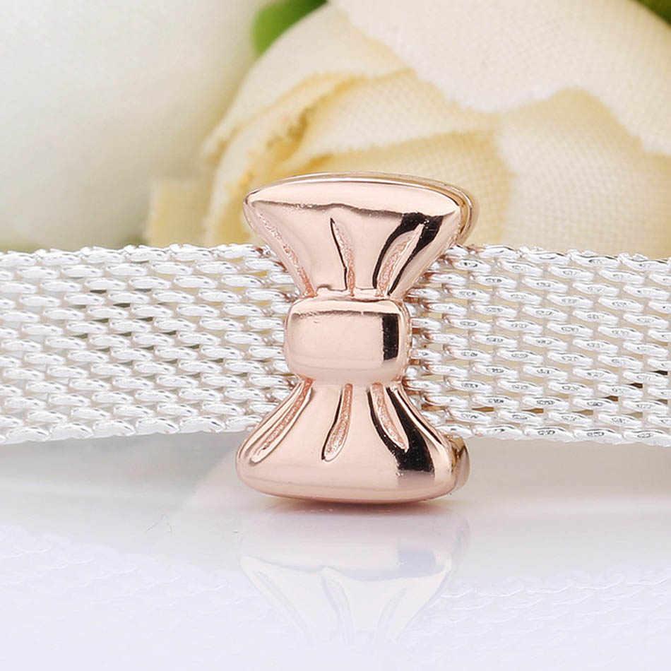 Original oro rosa reflexiones arco Clip tapón bloqueo cuentas ajuste cuenta en plata esterlina 925 encanto Pandora pulsera brazalete Diy joyería