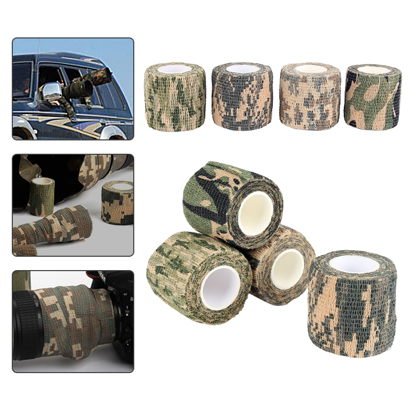 1 ROLL Durable Roll Army Adhesive Camouflage Tape Camo Outdoor Disguise Hunting Durable Camouflage Stealth Tape Waterproof Wrap